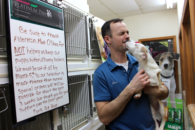 Jim Sparks Jr., owner of Park Pet Shop in Mount Greenwood, says he's found ways to comply with a city ordinance limiting the sale of puppies to rescue dogs.