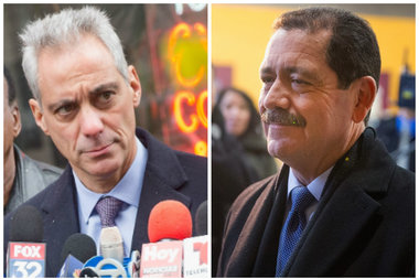 "Mayor Rahm Emanuel and Jesus ""Chuy"" Garcia"