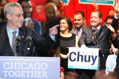 "Mayor Rahm Emanuel will face Jesus ""Chuy"" Garcia in a runoff election on April 7."