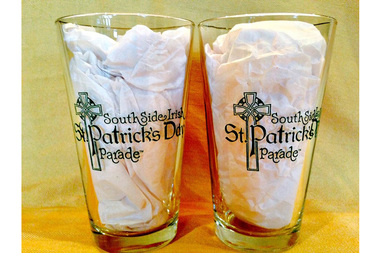 Stemless wine glasses and pint glasses with South Side Irish St. Patrick's Day Parade logo will be available this weekend at Cork & Kerry and Keegan's Pub in Beverly.