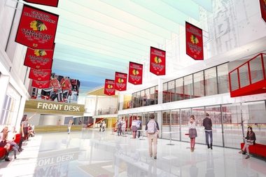 The proposed interior of the Blackhawks' practice facility.