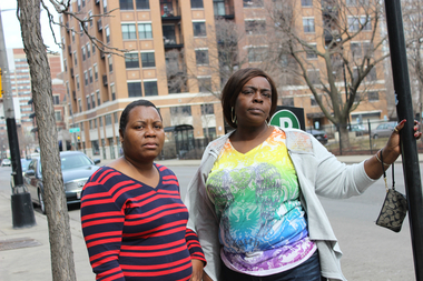 Melinda Baker (from l.) and Lilly Hicks are among the residents living in Eastwood Towers who are outraged that parking is no longer free on Sheridan Road from Leland Avenue to Eastwood Avenue.