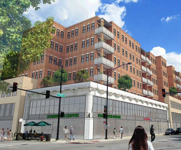 "Developer Dave Gassman wants to build a 80-foot-tall, seven-story mixed-use development at 3817-45 N. Broadway in Lake View East, which would include tearing down and rebuilding the ""eagles building"" using the original terra cotta."
