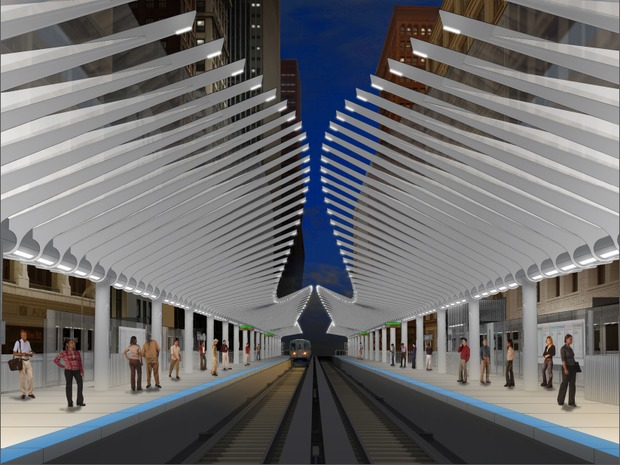 Construction of a new CTA station at Washington Street and Wabash Avenue will close a portion of Wabash to vehicles Monday, with work expected to last 18 months. Check out renderings of the finished project.