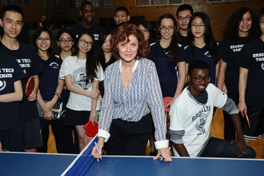 Susan Sarandon (c.) visits Brooklyn Technical High School to donate table tennis tables on behalf of SPiN New York and STIGA on January 15, 2015 in New York City.