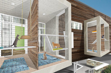 A rendering of an outdoor enclosure for cats to play and relax in, also known as a 'catio,' will be among the new features.