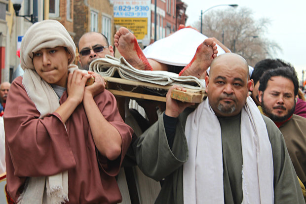 Actors portray the Stations of the Cross in Pilsen in 2015.