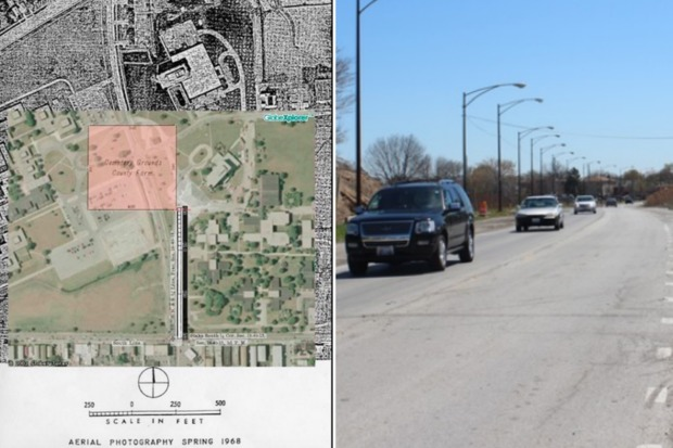 A map from 1968 shows the six-acre cemetery which could be disrupted by the rebuilding of Oak Park Avenue.