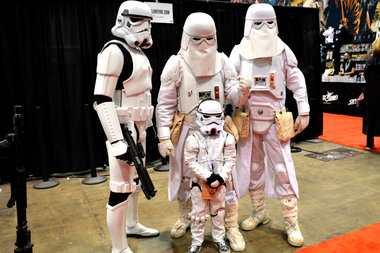 Mini-Storm Trooper Felix Fojo, 6, attended the comic expo with his parents and sister.