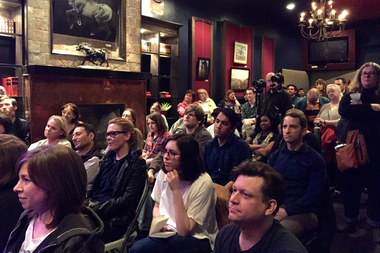 More than 100 people packed O'Rourke's Office on Thursday night for the debut of