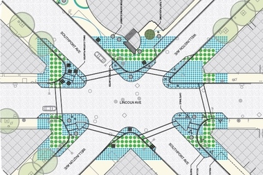 The Lincoln Hub placemaking project aims to create a sense of community along Lincoln Avenue between Diversey and Belmont with seating, planters and a polka-dot sidewalk design inspired by oriental rugs.