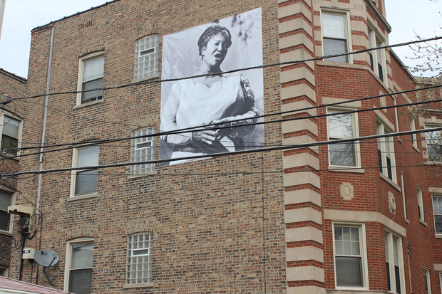 A poster of gospel legend Mahalia Jackson hangs from this building on the northwest corner of 81st and Ingleside.