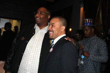 Ald. Jason Ervin (28th) and alderman-elect Michael Scott Jr. (24th) pose for a photo Tuesday.