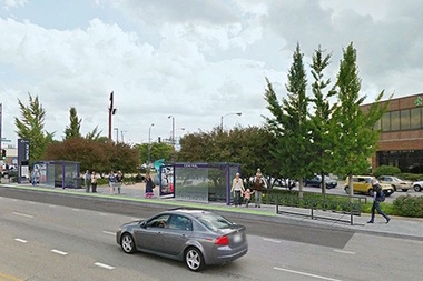 A rendering of the planned Pulse Bus Rapid Transit stop at Central and Milwaukee avenues.