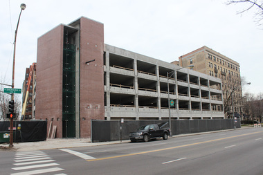 The 250-car parking garage nears completion on Sheridan Road.