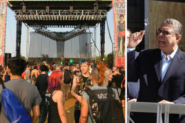 Ald. Roberto Maldonado (r.) has vowed to block Riot Fest from returning to Humboldt Park in 2015.