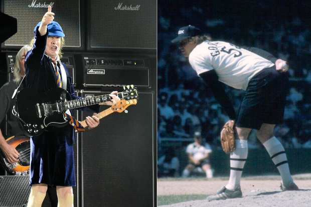 Why do White Sox fans love AC/DC? Maybe it's the shorts. AC/DC singer Angus Young (l.) on stage this year and White Sox pitcher Goose Gossage, on the mound in 1976, sport similar looks.