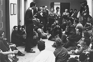 The U. of C. library says this photo depicts Bernie Sanders speaking to students at a 1962 sit-in, though some have disputed that.