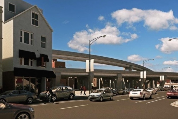 In a May community meeting, neighbors expressed concern that the northwest-facing view at Clark Street and Buckingham Place could be marred by the planned Belmont flyover without redevelopment.