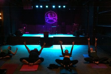 Yoga meets metal in Brooklyn.
