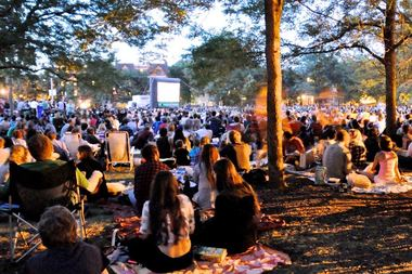 A packed Movies in the Park.