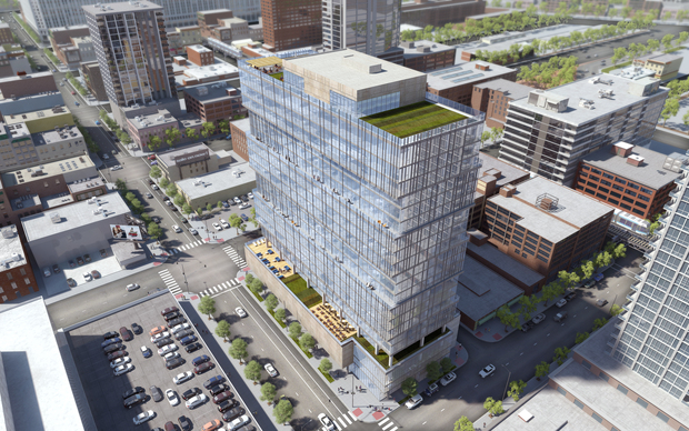 Check out these new renderings of a 22-story apartment tower proposed for the Ed Debevic's site in River North.