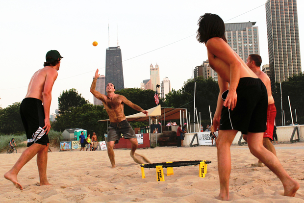 Spikeball players compete at North Avenue Beach.