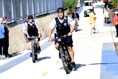 Police officers on The 606.