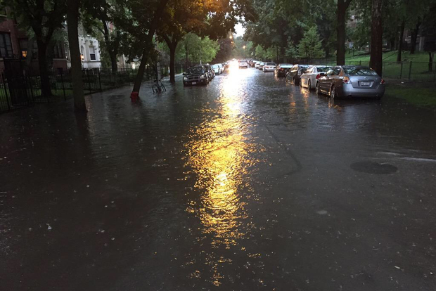 Flooding at Beacon Street and Lawrence Avenue.