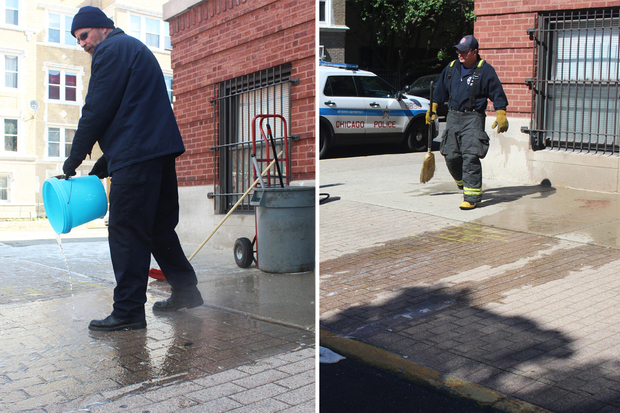 A maintenance worker washes away the blood of Keno Glass (l.) in April 2014. Firefighters wash away the blood of a shooting victim about a year later on the same corner Monday.