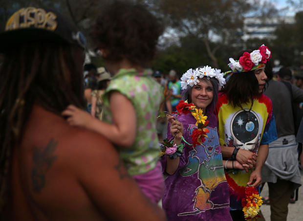 Grateful Dead fans gather in the parking lot before a show Saturday at Levi's Stadium in Santa Clara, Calif.