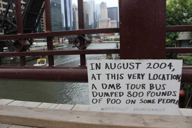 Someone put this sign on the Kinzie Street Bridge in 2015 to commemorate the infamous dumping.