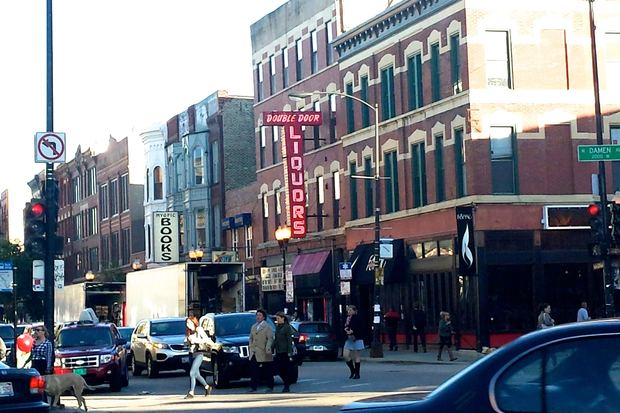 Film trucks for Chiraq parked outside of Double Door in Wicker Park late Monday.