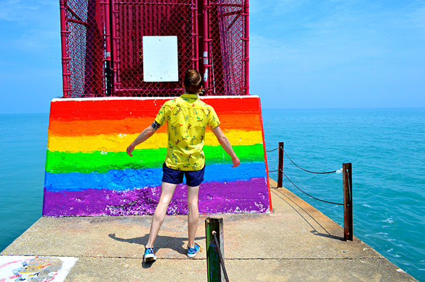 The base of the pier at Hollywood Avenue Beach in Edgewater, known locally as the 'gay beach,' has been painted to resemble a rainbow flag in recent years.