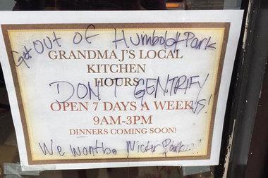 Grandma J's was hit with anti-gentrification graffiti last year.