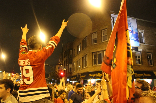 Wrigleyville filled up with revelers to celebrate the Blackhawks Stanley Cup victory.