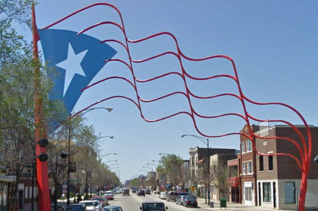 This Puerto Rican flag artwork is in Humboldt Park.