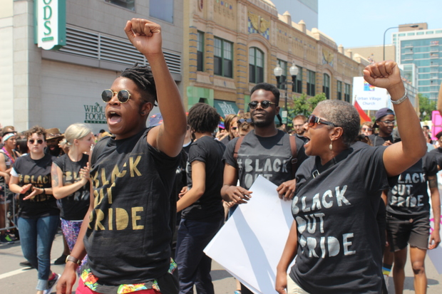 "Protestors staging a ""die-in"" at Halsted and Addison streets halted the Chicago Pride Parade for about 15 minutes just before 2 p.m. Sunday, June 28, 2015. The #BlackOutPride protest was meant to draw attention to the challenges facing LGBTQ communities of color."