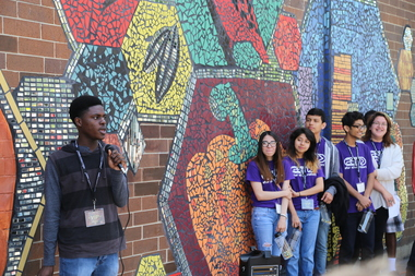 Teens helped craft a mural at Whole Foods in Edgewater.