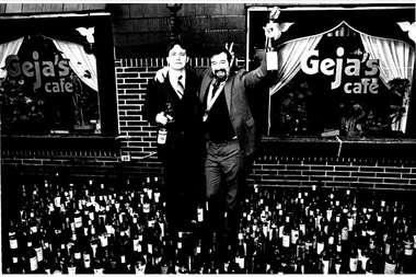 John Davis, the original owner of Geja's, poses for a photo in front of his wine bar in 1965.