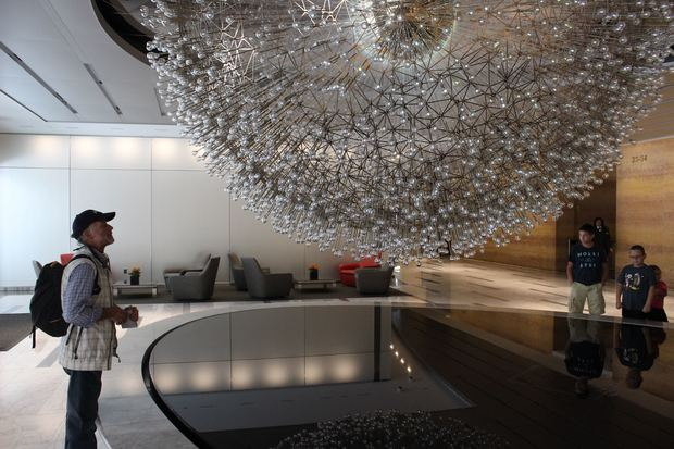 Check out Lucent, a new spherical sculpture and infinity pool in the lobby of John Hancock Center.