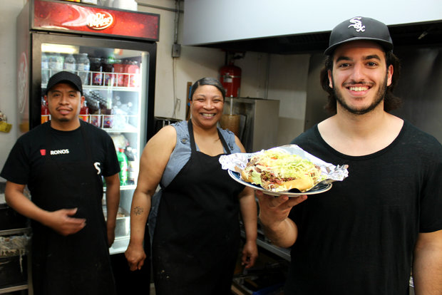Stony Sub owner Moe Almasri (l.), cook Maro Cortes and counter gal Michelle McKinney serve up the Gym Shoe sandwich.