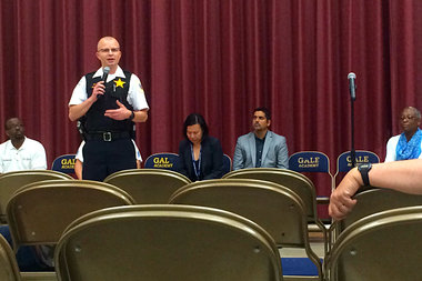 Cmdr. Roberto Nieves of the Rogers Park Police District met with parents, staff and students at Gale Elementary Friday to talk about what CPD was going to do to help Gale resume recess with added security protection.