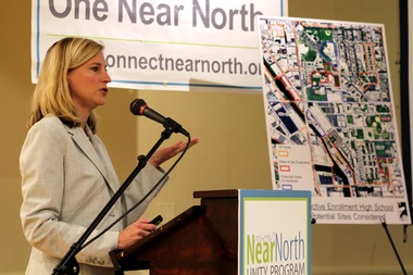 Terri Haymaker, chief planning officer for the city's Public Building Commission, discusses the four proposed sites for a Near North Side  selective-enrollment high school Monday night.