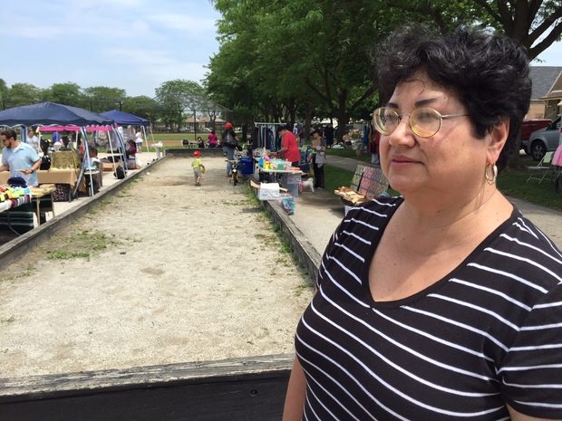 Southeast Environmental Taskforce Executive Director Peggy Salazar says odors from Agri-Fine make it difficult for her and her neighbors to enjoy spending time in Veteran's Memorial Park.