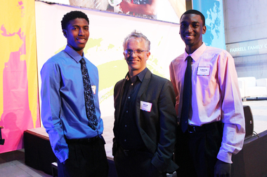 Antwan Barner, (from left) 19, Gravity Tank's David O'Donnell and Lakerrie Forest, 18. Teens from across Chicago presented their solutions to combat violence in their neighborhoods at an event on June 4, 2015, held at the Museum of Science and Industry.