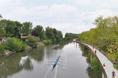 A portion of the Riverview Bridge will soar over the Chicago River between Addison and Irving Park Road.