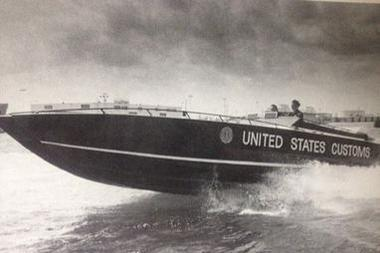 A U.S. Customs publicity photo showing the type of boat Medrano rode during the Cocaine Cowboy era in Florida.