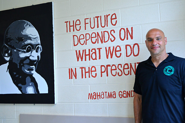 Former Clinton Elementary Principal Eduardo Cesario said this quote by Mahatma Gandhi was one of his favorites and requested it be included in a number of inspirational murals painted across the school.