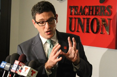 Chicago Teachers Union Vice President Jesse Sharkey looked to Mayor Rahm Emanuel to provide the